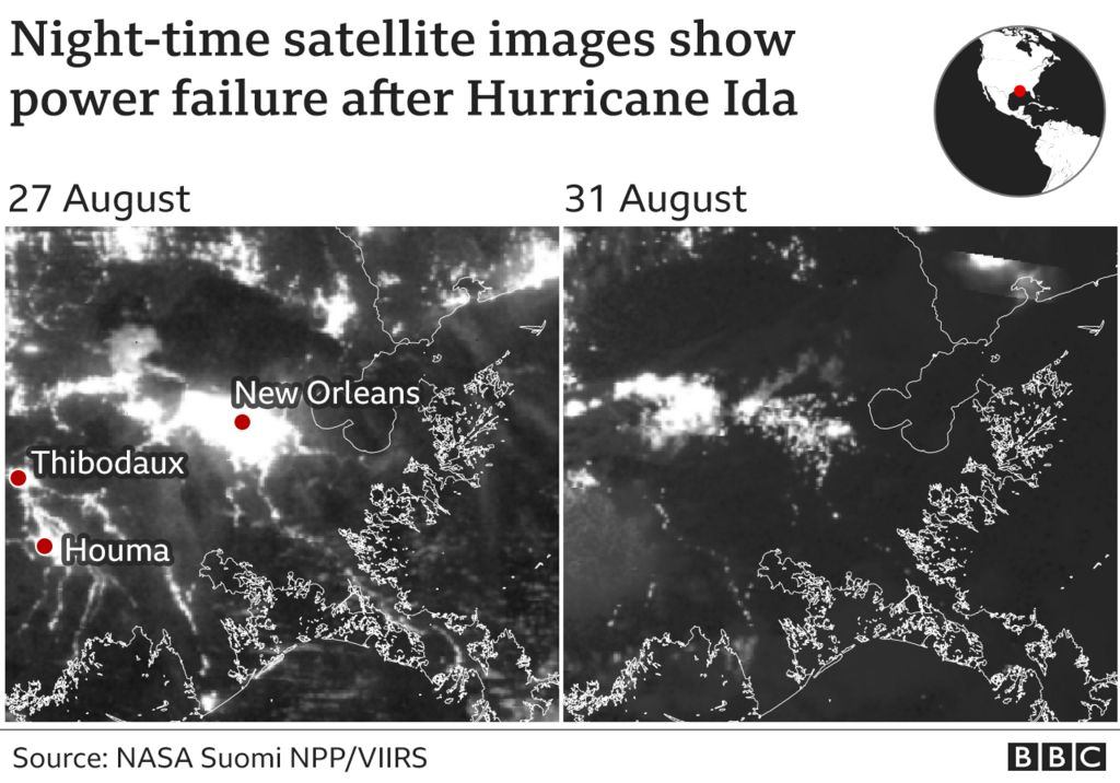 Night-time satellite images of blackouts