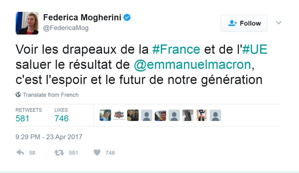 """Tweet from @FedericaMog: """"See the flags of France and the EU greet the result of @emmanuelmacron, it is the hope and the future of our generation."""""""