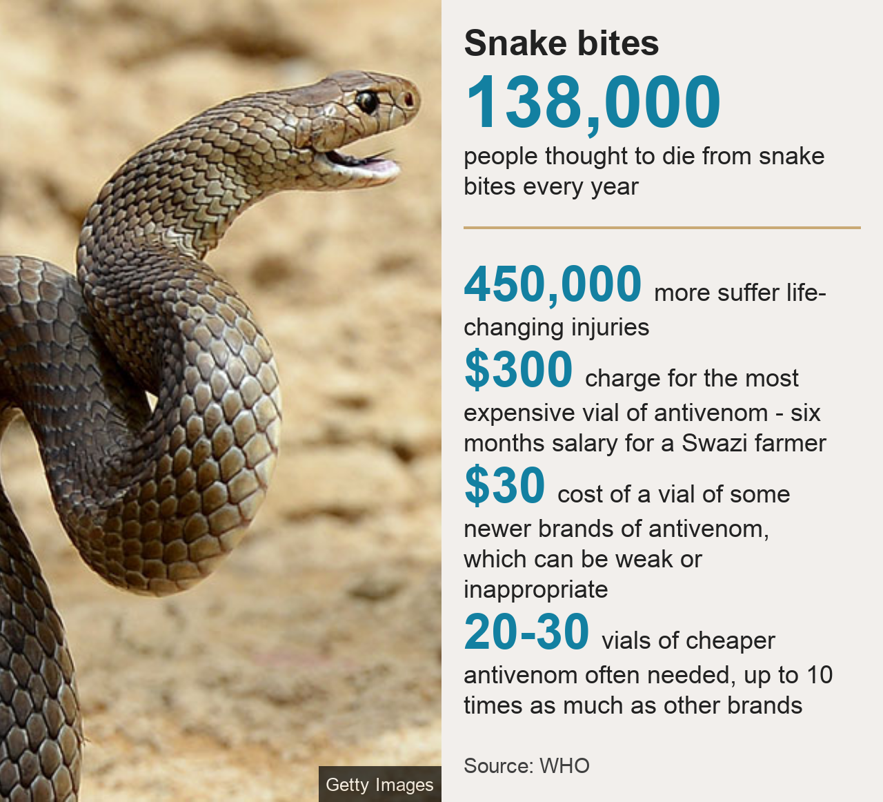 Key snakebite figures