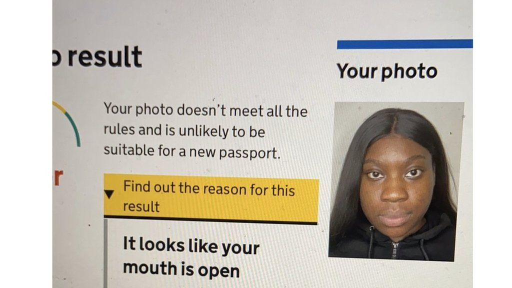 A photo of Elaine Owusu on the passport website with an error message saying it looks like your mouth is open