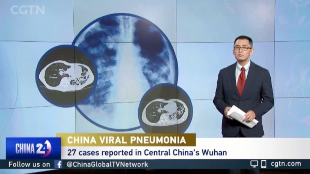 "Screenshot from CGTN reporting 27 cases of ""viral pneumonia"""