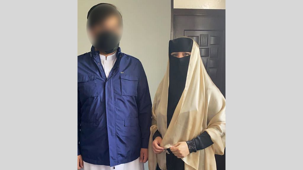 Shukria Barakzai and her husband covered their faces before they left for the airport