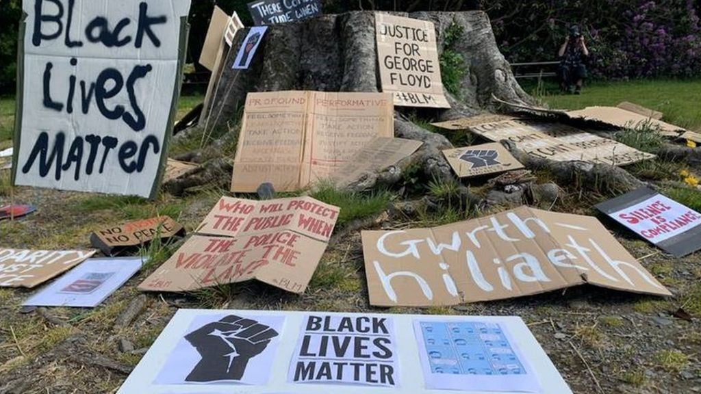 George Floyd: Machynlleth mosaic laid as virus fears stop march ...
