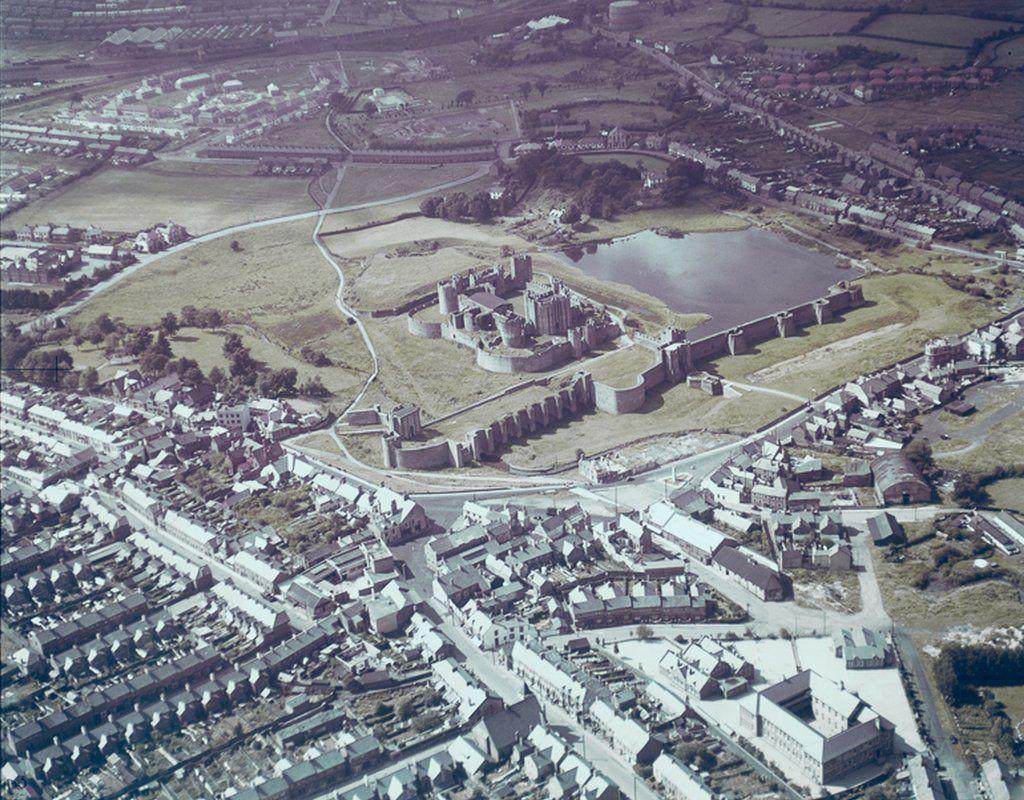 Caerphilly Castle, Glamorgan, on 26 July 1948