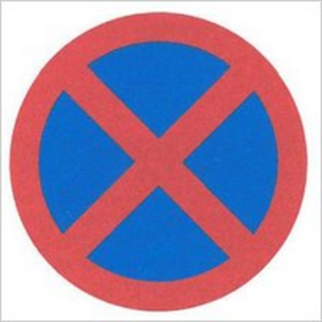 Road Signs Blue Circle Red Cross