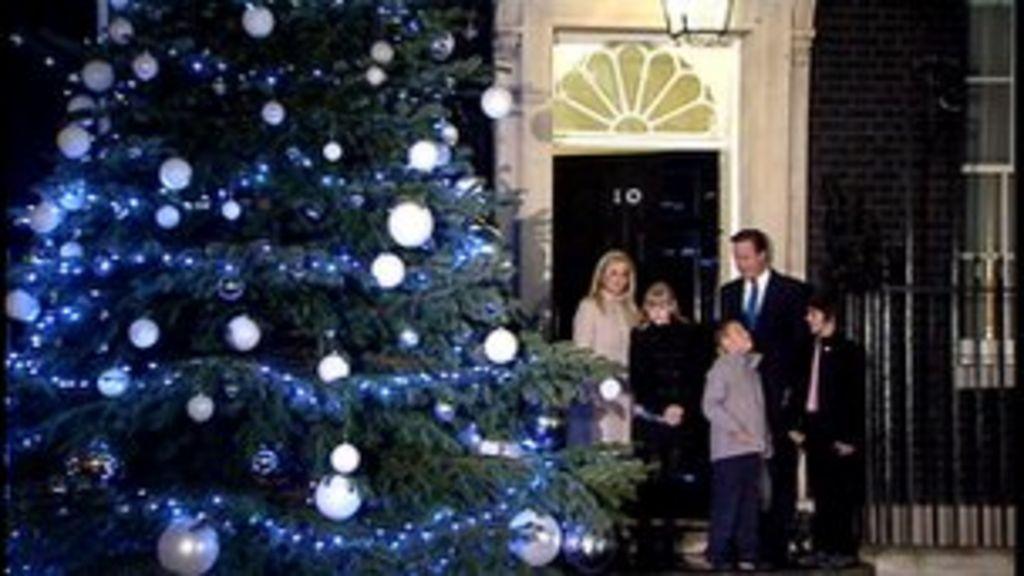 David Cameron Turns On Lights On No 10 Christmas Tree Bbc News
