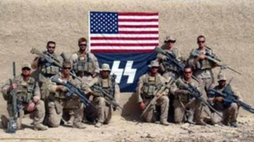 US Marine sniper unit photographed with 'Nazi SS' flag - BBC