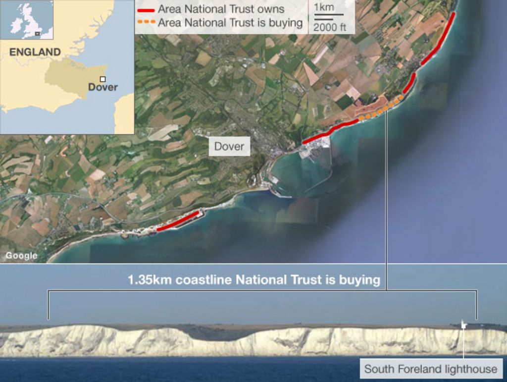Map Of England Dover.White Cliffs Of Dover To Be Bought By National Trust Bbc News