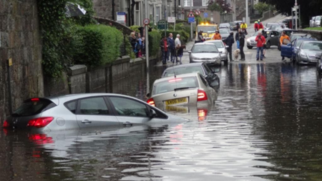 heavy downpours cause flooding in aberdeen