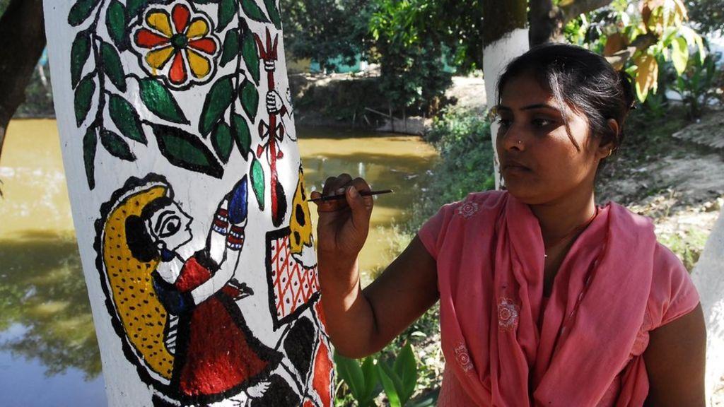 Indian Tribal Art Form Madhubani To Save Trees Bbc News