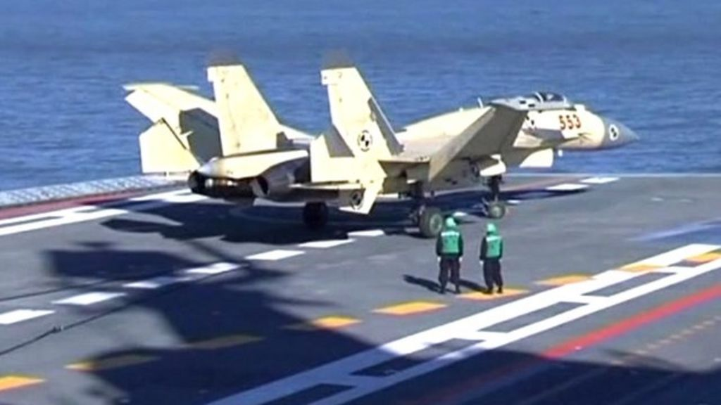 China lands J-15 jet on Liaoning aircraft carrier - BBC News