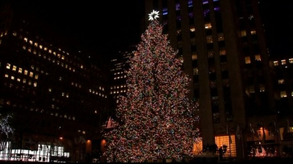 Stars Twinkle As Rockefeller Center Christmas Tree Is Lit Up Bbc News