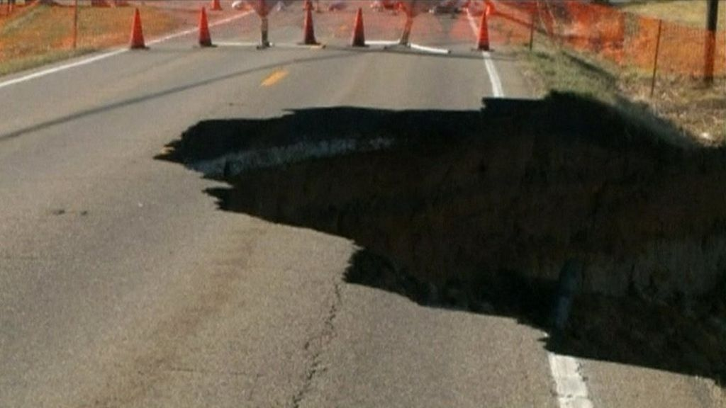Massive Sinkhole Causes Highway To Collapse In Ohio, USA