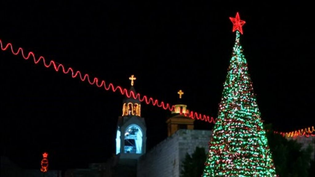bethlehem christmas tree lit up bbc news