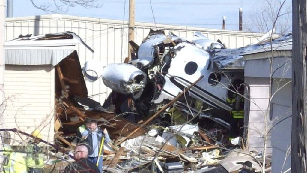 Indiana Plane Crash Private Jet Plunges Into Houses  BBC News