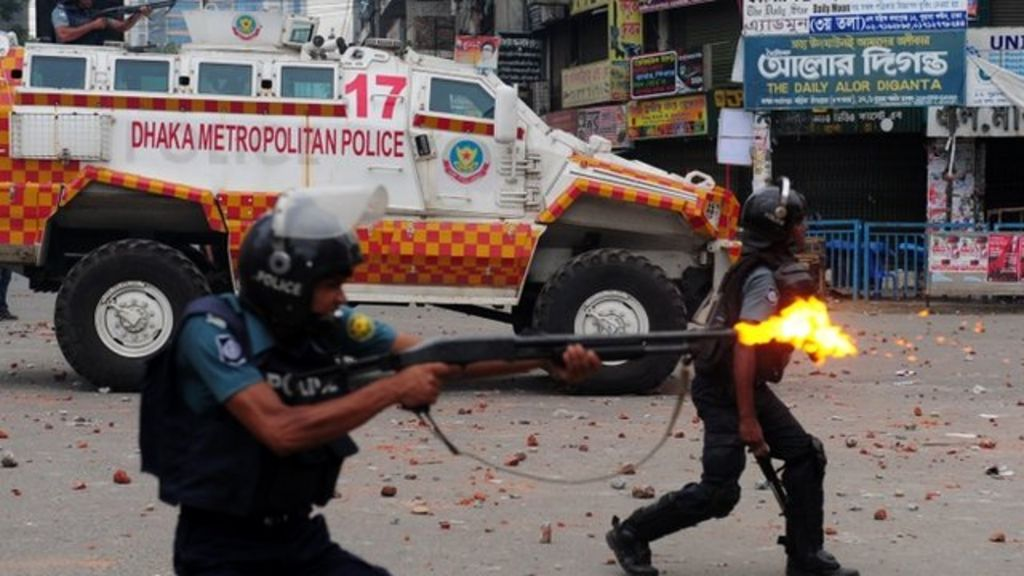 Clashes between police and protesters began on Sunday and continued into  Monday