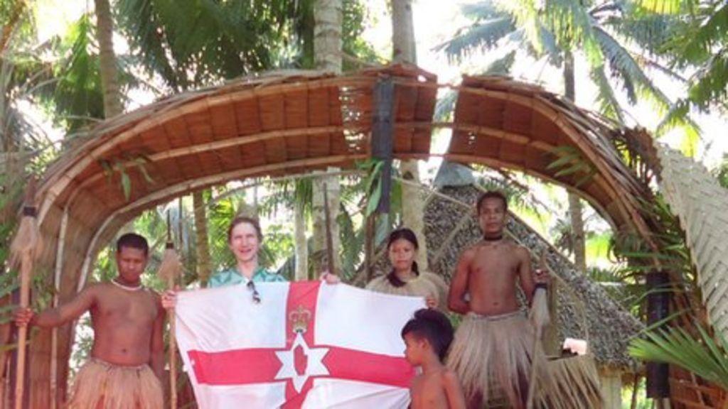 bangor man travels the world with northern ireland flag. Black Bedroom Furniture Sets. Home Design Ideas