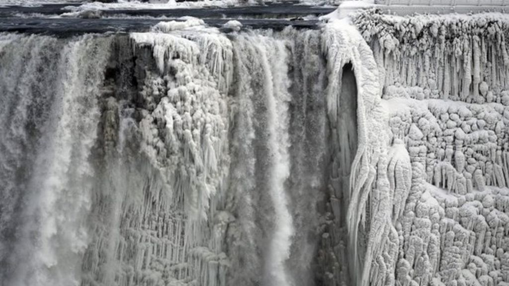 Footage shows parts of Niagara Falls, which straddles the US Canada border,  have frozen solid,
