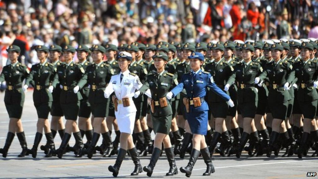 China Female Guards Debut In Military Parade Bbc News