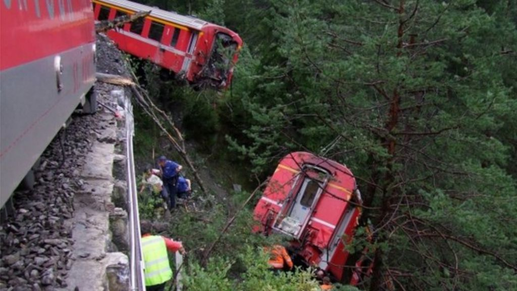 Derailed passenger train near Tiefencastel, Switzerland