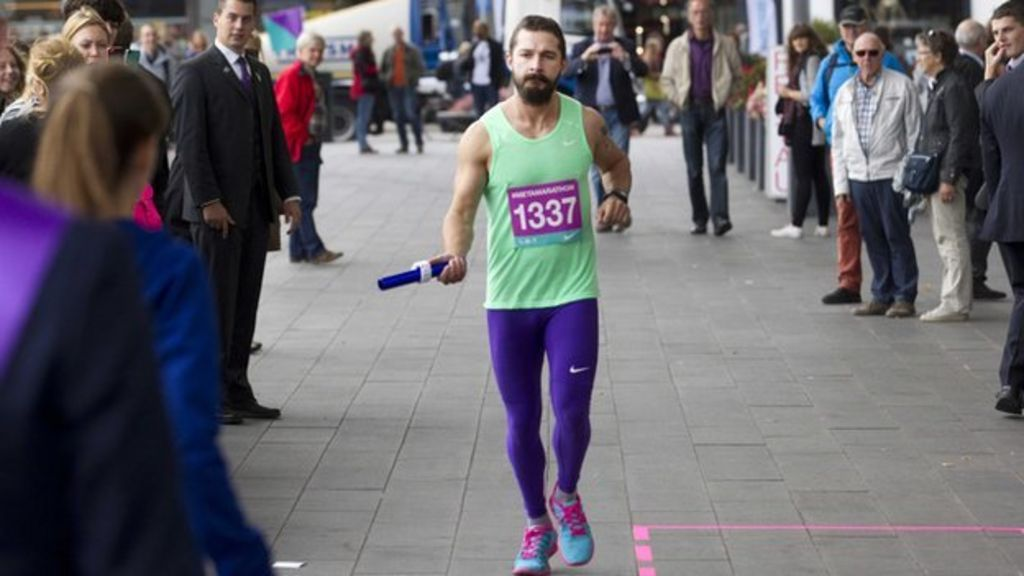 Shia LaBeouf runs 'marathon' for Dutch art performance - BBC News