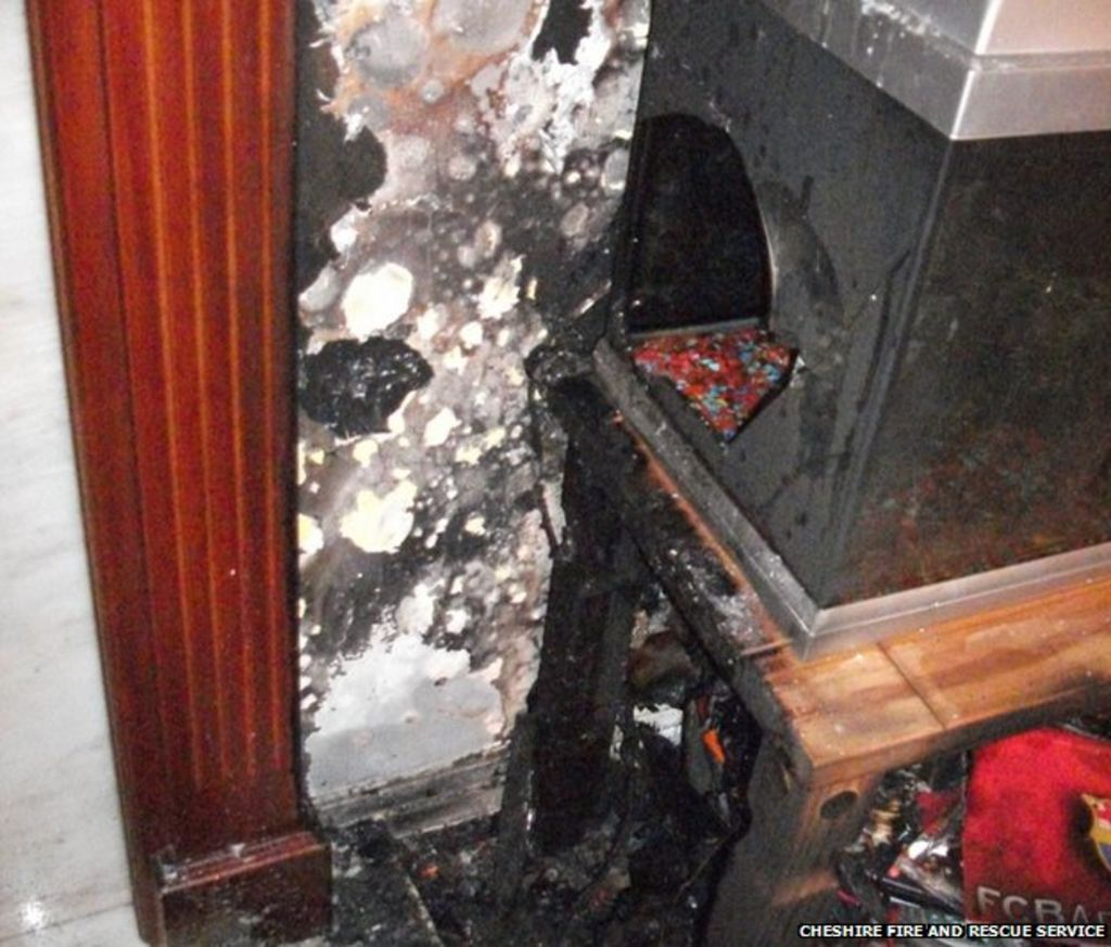 Shattered fish tank stops warrington house fire bbc news for Fish tank fireplace