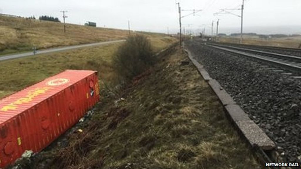 Freight container on its side next to the track