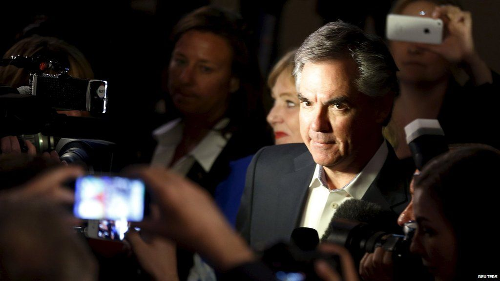 Alberta Premier and Progressive Conservative party leader Jim Prentice reacts after losing the Alberta election in Calgary, Alberta, May 5, 2015