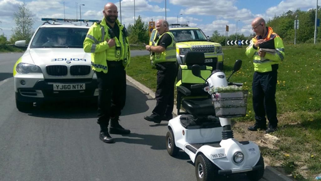Mobility scooter driven on M1 motorway in West Yorkshire - BBC News
