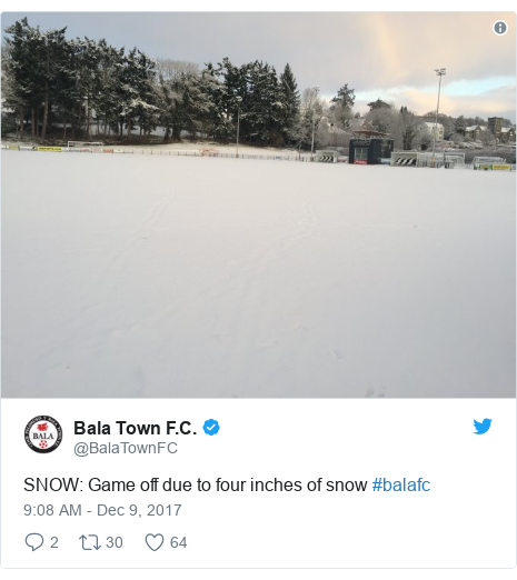 Neges Twitter gan @BalaTownFC: SNOW  Game off due to four inches of snow #balafc