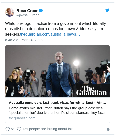 Twitter post by @Ross_Greer: White privilege in action from a government which literally runs offshore detention camps for brown & black asylum seekers.