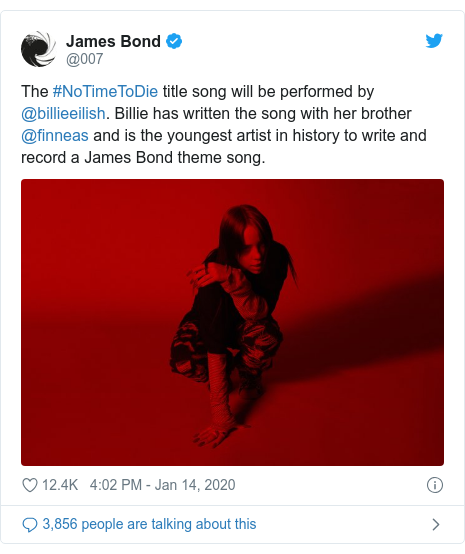 Twitter post by @007: The #NoTimeToDie title song will be performed by @billieeilish. Billie has written the song with her brother @finneas and is the youngest artist in history to write and record a James Bond theme song.