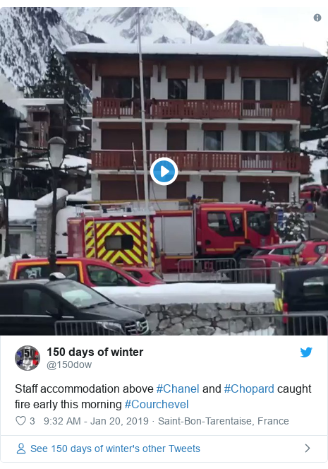 Twitter post by @150dow: Staff accommodation above #Chanel and #Chopard caught fire early this morning #Courchevel