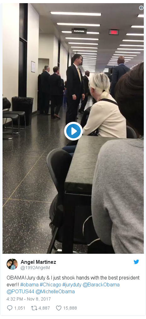 Twitter post by @1992AngelM: OBAMA!Jury duty & I just shook hands with the best president ever!! #obama #Chicago #juryduty @BarackObama @POTUS44 @MichelleObama