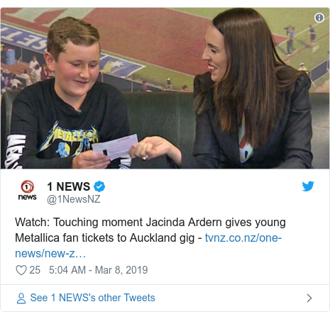 Twitter post by @1NewsNZ: Watch  Touching moment Jacinda Ardern gives young Metallica fan tickets to Auckland gig -