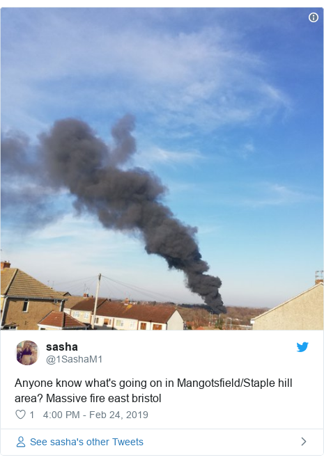 Twitter post by @1SashaM1: Anyone know what's going on in Mangotsfield/Staple hill area? Massive fire east bristol