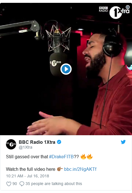 Twitter post by @1Xtra: Still gassed over that #DrakeFITB?? 🔥🔥Watch the full video here 👉🏾