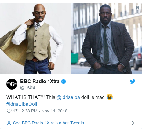 Twitter post by @1Xtra: WHAT IS THAT?! This @idriselba doll is mad 😂 #IdrisElbaDoll