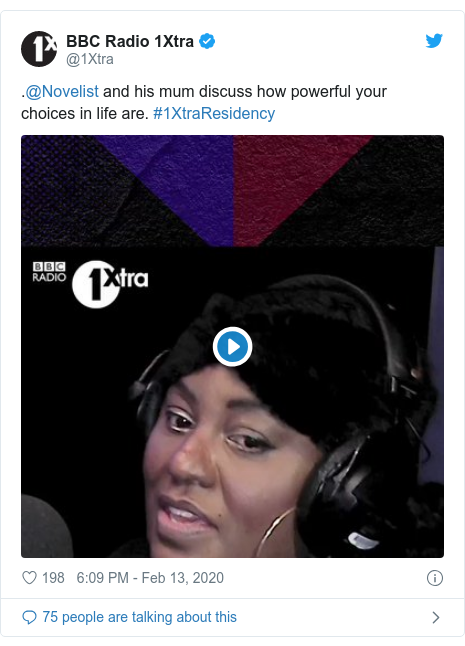 Twitter post by @1Xtra: .@Novelist and his mum discuss how powerful your choices in life are. #1XtraResidency