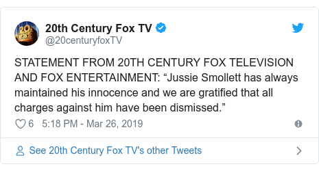 """Twitter post by @20centuryfoxTV: STATEMENT FROM 20TH CENTURY FOX TELEVISION AND FOX ENTERTAINMENT  """"Jussie Smollett has always maintained his innocence and we are gratified that all charges against him have been dismissed."""""""