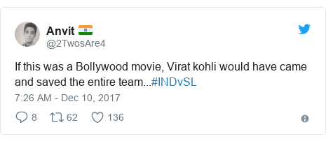 Twitter post by @2TwosAre4: If this was a Bollywood movie, Virat kohli would have came and saved the entire team...#INDvSL
