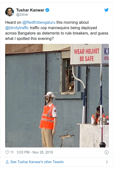 Twitter post by @2shar: Heard on @Redfmbengaluru this morning about @blrcitytraffic traffic cop mannequins being deployed across Bangalore as deterrents to rule breakers, and guess what I spotted this evening?