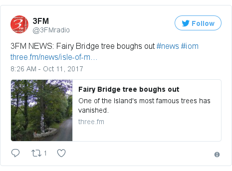 Twitter post by @3FMradio: 3FM NEWS  Fairy Bridge tree boughs out #news #iom https //t.co/bGZPB7nBQX