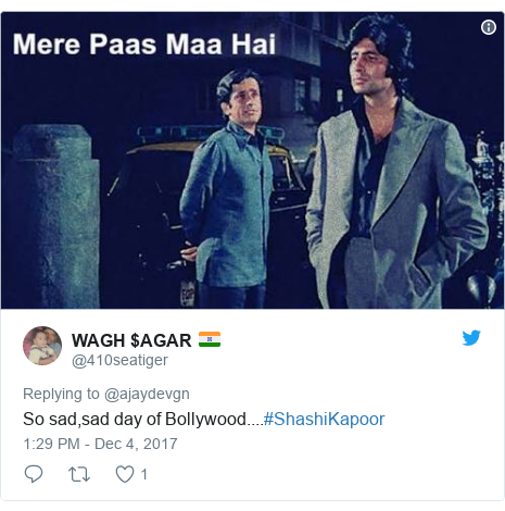 Twitter post by @410seatiger: So sad,sad day of Bollywood....#ShashiKapoor