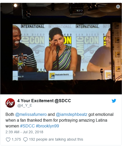 Twitter post by @4_Y_E: Both @melissafumero and @iamstephbeatz got emotional when a fan thanked them for portraying amazing Latina women #SDCC #brooklyn99