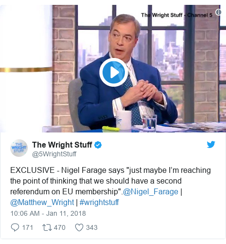 """Twitter post by @5WrightStuff: EXCLUSIVE - Nigel Farage says """"just maybe I'm reaching the point of thinking that we should have a second referendum on EU membership"""".@Nigel_Farage   @Matthew_Wright   #wrightstuff"""