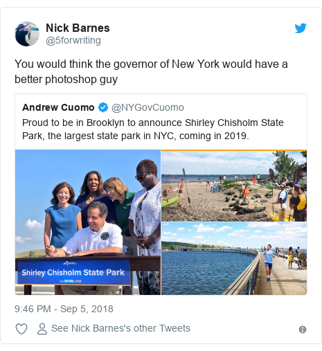 Twitter post by @5forwriting: You would think the governor of New York would have a better photoshop guy