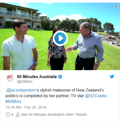 Twitter post by @60Mins: .@jacindaardern's stylish makeover of New Zealand's politics is completed by her partner, TV star @NZClarke. #60Mins