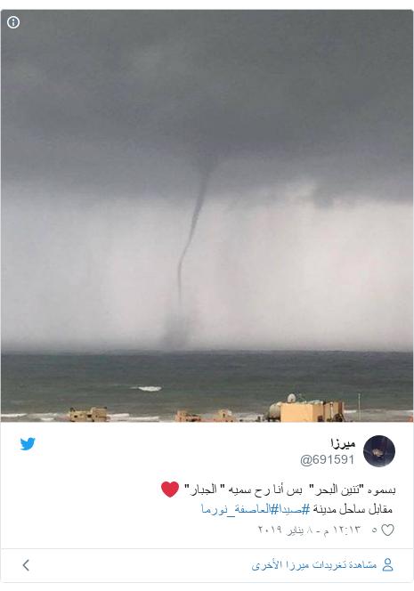 """تويتر رسالة بعث بها @691591: بسموه """"تنين البحر""""  بس أنا رح سميه """" الجبار"""" ❤️ مقابل ساحل مدينة #صيدا#العاصفة_نورما"""