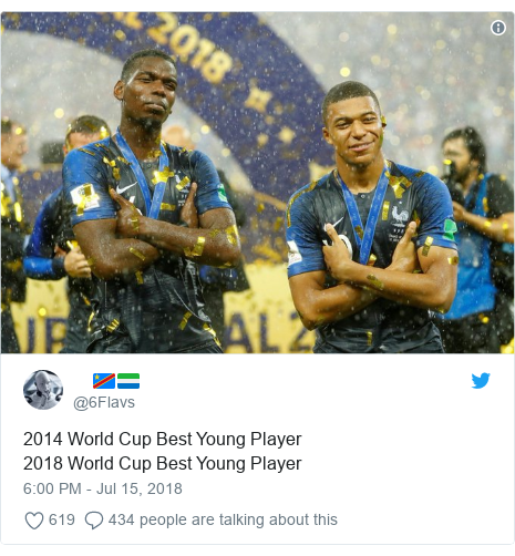 Twitter post by @6Flavs: 2014 World Cup Best Young Player2018 World Cup Best Young Player